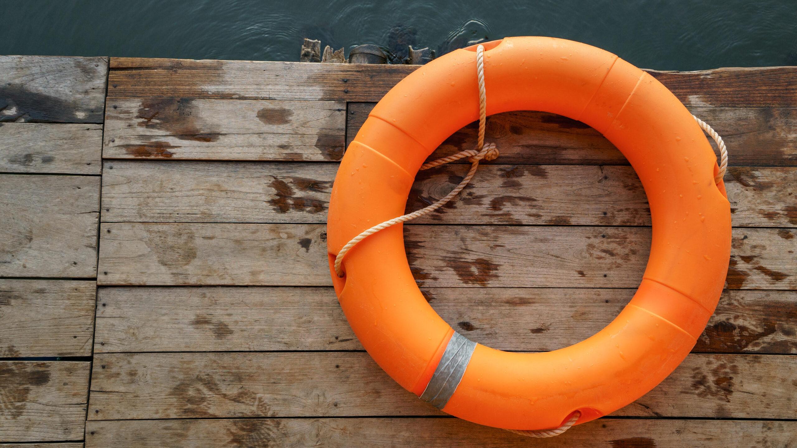 Orange lifebuoy, All Water rescue emergency equipment.